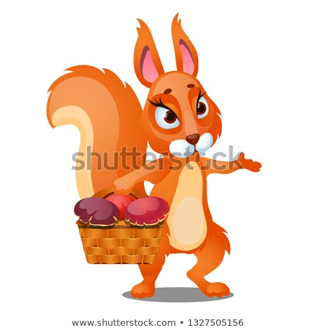 Red squirrel carries a wicker basket filled with mushrooms isolated on white background. Vector cart Stock photo © Lady-Luck