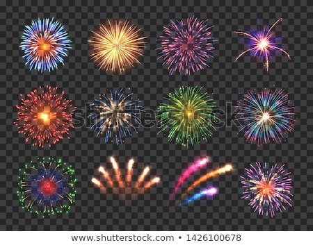 Firework Vector. Night Carnival Light. Isolated On Transparent Background Realistic Illustration Stock photo © pikepicture