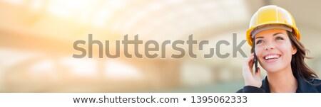 Banner weiblichen Auftragnehmer Schutzhelm Handy Telefon Stock foto © feverpitch