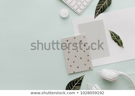 Home office workplace with stack books and headphones Stock photo © karandaev