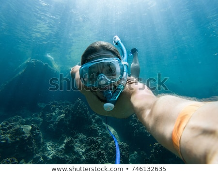 A young caucasian snorkeling man under water selfie Thailand BANNER, long format Stock photo © galitskaya