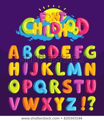 Foto stock: Desenho · animado · alfabeto · cartas · crianças · ilustração