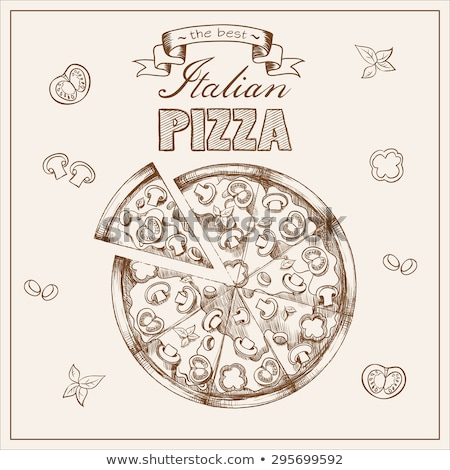 color vegetarian italian slice pizza hand drawn vector stock photo © pikepicture