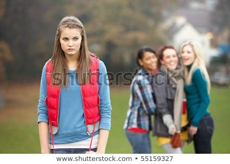Stok fotoğraf: üzgün · genç · kız · arkadaşlar · kız · kış