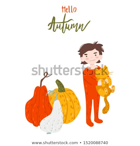 Cat hug a pumpkin cartoon hand drawn style Stock photo © amaomam