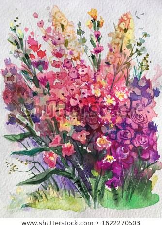 Patrón rosa violeta flores acuarela otono Foto stock © Artspace