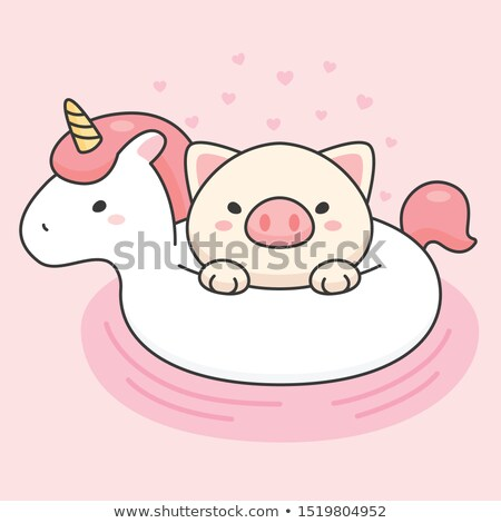 Cute pig in an unicorn life ring stock photo © amaomam
