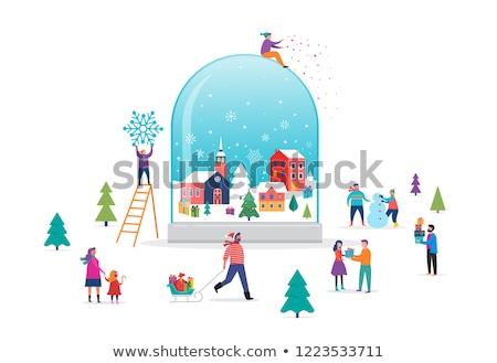 雪 世界中 冬 風景 村 ガラス ストックフォト © liolle