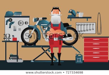男 バイク オートバイ ベクトル ストックフォト © robuart