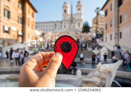 Piros jelző spanyol lépcső Róma Olaszország Stock fotó © nito