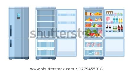 Koelkast ingesteld voedsel gerechten maaltijden koelkast Stockfoto © robuart
