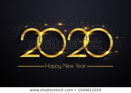 Blue Neon Vector Luxury Text 2020 Happy New Year. Stock photo © tashatuvango
