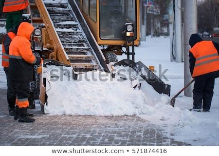 Tracteur nettoyage route neige lourd chutes de neige Photo stock © AndreyPopov