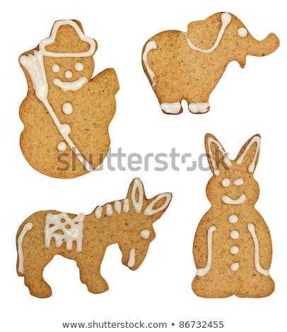 Eigengemaakt christmas cookies icing sneeuw cake Stockfoto © Melnyk