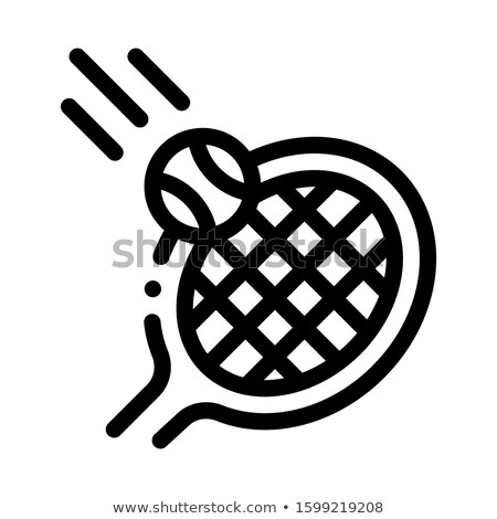 Racket Hits Ball Icon Vector Outline Illustration Stock photo © pikepicture