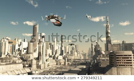 сцена космический корабль Flying небе иллюстрация здании Сток-фото © bluering