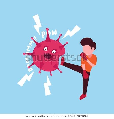 Cartoon красный коронавирус иллюстрация медицинской китайский Сток-фото © cidepix