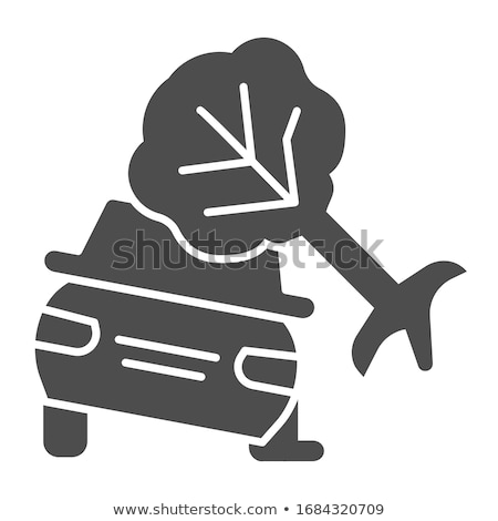 car crashed into tree icon vector outline illustration Stock photo © pikepicture