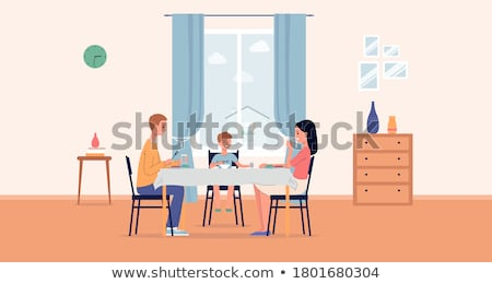 People Eating Out Dinning Together in Cafe Vector Stock photo © robuart