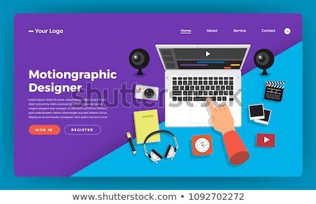 Számítógép animáció leszállás oldal dolgozik karakter Stock fotó © RAStudio