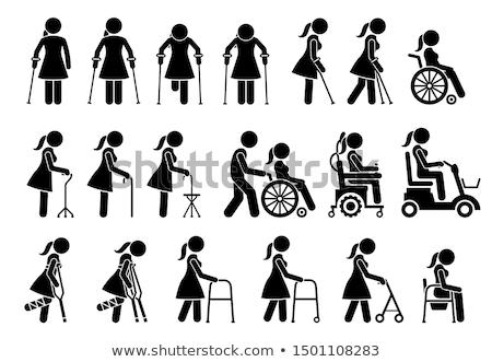 Vector disability walker symbol icon Stock photo © nickylarson974
