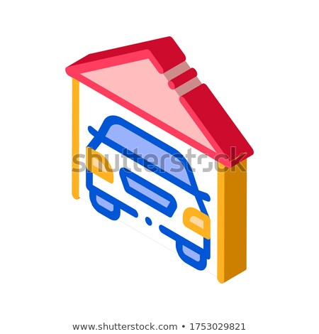 Garage Shed With Car Vehicle isometric icon vector illustration Stock photo © pikepicture