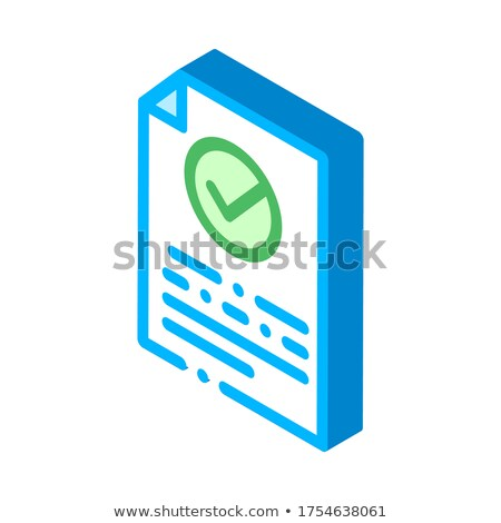 Document Text File With Approved Mark isometric icon Stock photo © pikepicture