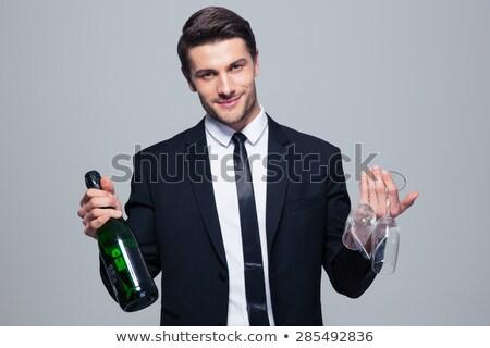 empresario · botella · vino · negocios · oficina · hombre - foto stock © Paha_L