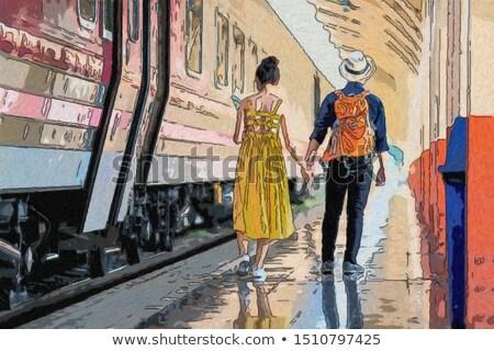 Coppia attesa stazione ferroviaria amore uomo treno Foto d'archivio © photography33