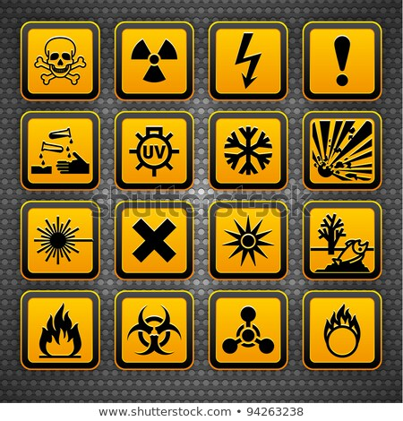 Hazard symbols orange vectors sign, on metal surface Stock photo © Ecelop