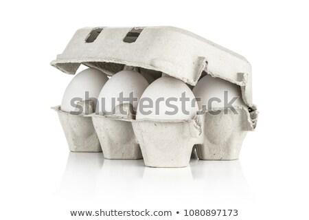 Karton tojások izolált tíz fából készült fehér Stock fotó © elly_l