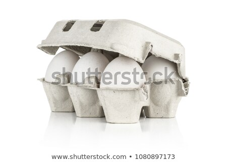 karton · eieren · geïsoleerd · tien · houten · witte - stockfoto © elly_l