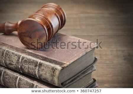 Fából készült kalapács öreg törvény könyvek bíróság Stock fotó © broker