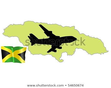 Stockfoto: Vliegen · me · Jamaica · kaart · vliegtuig · land
