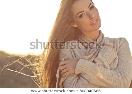 Brunette beauty with flowing hair. Stock photo © lithian