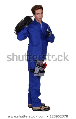 Male electrician holding wiring loom Stock photo © photography33