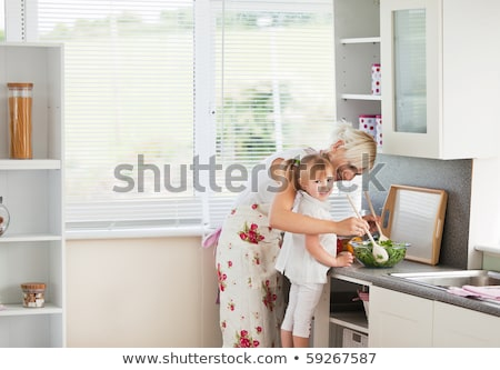 blijde · familie · eten · ontbijt · keuken · home - stockfoto © wavebreak_media