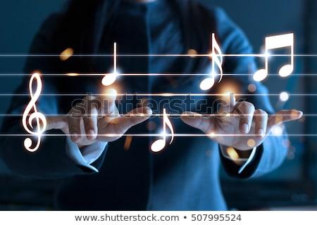 Müzik kelime kırmızı renk metin beyaz Stok fotoğraf © tashatuvango
