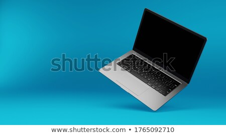 Blank White Desk Display on the Blue Background Stock photo © maxpro