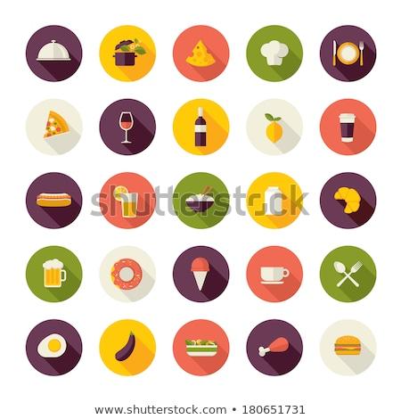 Menü étel ikon gyűjtemény éttermi étel online foglalás Stock fotó © cienpies