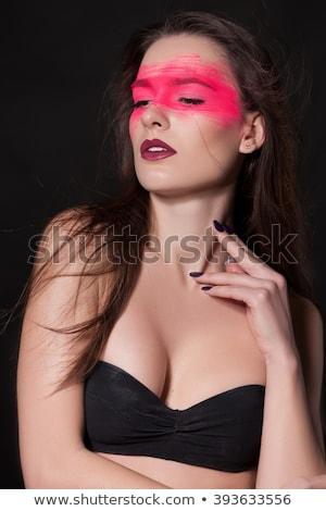 Machiaj cosmetic creare buze culoare extremă Imagine de stoc © tobkatrina