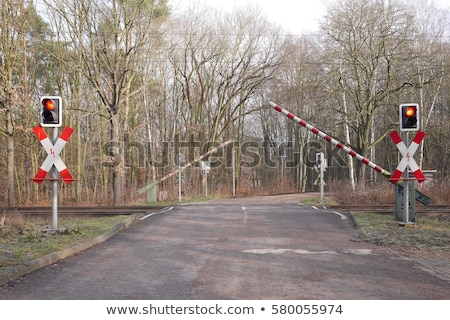 car on crossing with train coming stock photo © gewoldi