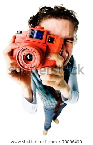 vicces · barna · hajú · készít · arcok · nő · mosoly - stock fotó © feedough