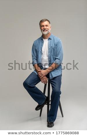 retrato · idoso · homem · tristeza · cabeça - foto stock © meinzahn