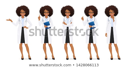 női · afrikai · orvos · gondolkodik · közelkép · portré - stock fotó © HASLOO