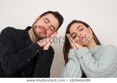 young woman pretending sleep gesture Stock photo © Giulio_Fornasar