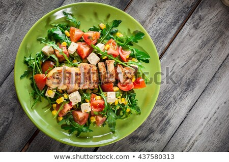 Healthy mixed salad garnished with olives Stock photo © ozgur