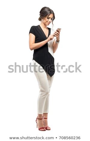 Stockfoto: Jonge · zakenvrouw · mobiele · witte · studio · business