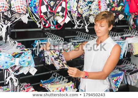 Foto stock: Feliz · mulher · jovem · maiô · pessoas · moda