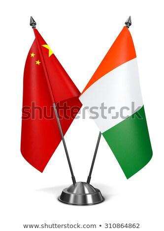 Китай Берег Слоновой Кости миниатюрный флагами изолированный белый Сток-фото © tashatuvango